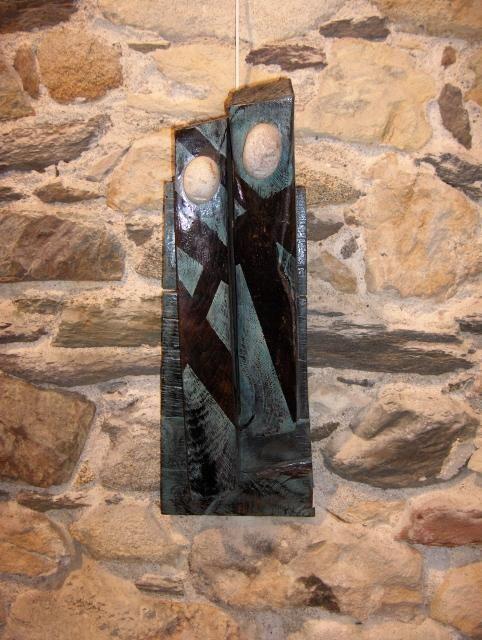 Bois de bateau, chêne, pigments, granit, résine 60x20x11 USA,  sculpture,  peinture