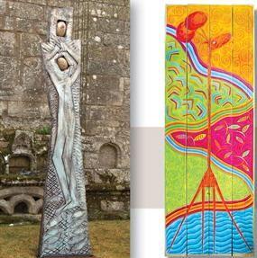 Pieta: chêne, pigments, granit, résine 340x90x16 Voyage,  couleurs,  sculpture,  peinture,  bateaux, mer,  poissons,  animaux