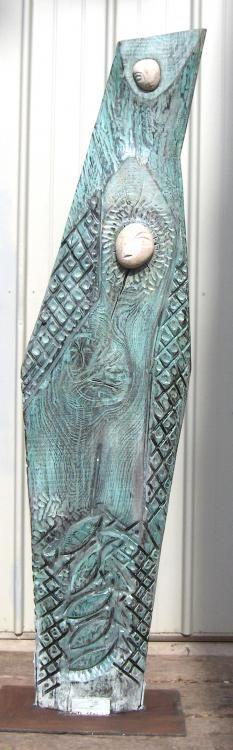 2006 Bois, chêne, granit, pigments, résine. 175 X 45 X 8 ArtContemporain. Celtes Bretagne Sculpture Peinture Lorient